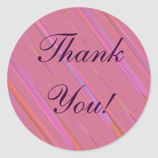 Tack! - Diagonalt rosaabstraktmönster Runt Klistermärke