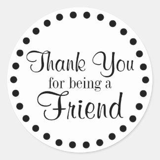 Tack för att vara en vän rund klistermärke