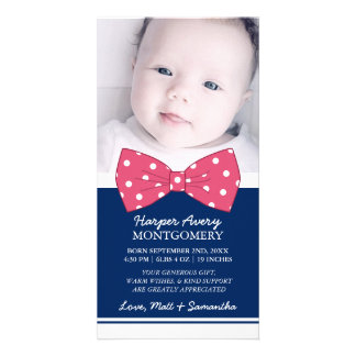 Tack för baby shower för foto för rosapilbåge fotokort