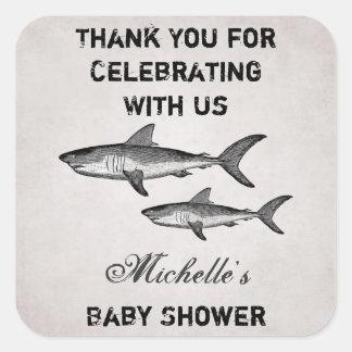Tack för baby shower för personligvintagehaj fyrkantigt klistermärke