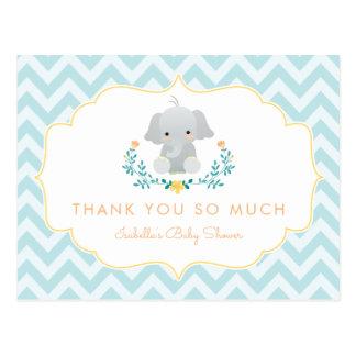 Tack för baby shower för pojkeelefant | gulligt vykort
