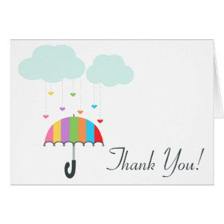 Tack för baby shower för regnbågeparaply neutralt OBS kort