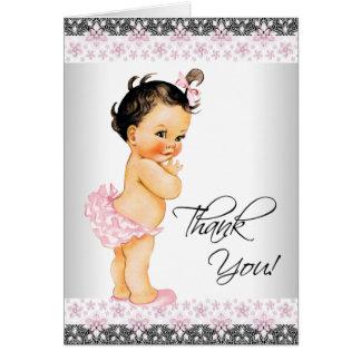 Tack för baby shower för rosasnöreflicka OBS kort