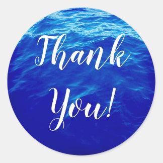 Tack för blåttvattenCalligraphy Runt Klistermärke