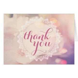 Tack för blommigt för bra för Bokeh rosagult Hälsningskort