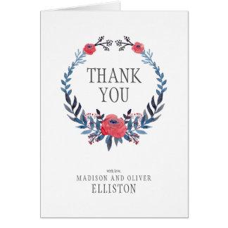 Tack för Boho blom- vattenfärgröd ros   OBS Kort