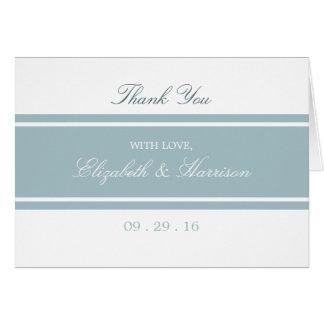 Tack för bröllop för ankaäggblått modernt OBS kort