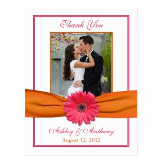 Tack för bröllop för band för rosa Gerber daisy Vykort