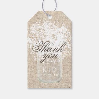 Tack för bröllop för brudslöjaMasonburk lantligt Presentetikett