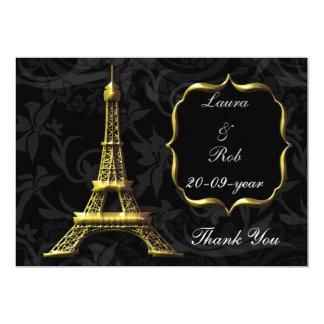 Tack för bröllop för guld- Eiffel torn franskt Inbjudningskort