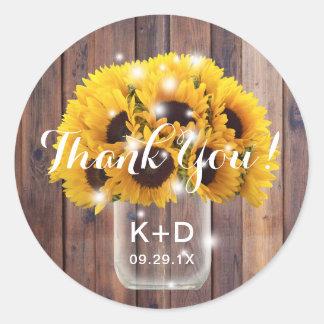 Tack för bröllop för ladugård för solrosMasonburk Runt Klistermärke