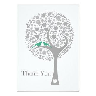 tack för bröllop för mod för lovebirds för 12,7 x 17,8 cm inbjudningskort
