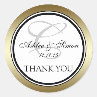 Tack för bröllop för Monogram C för guld svart Runt Klistermärke