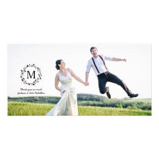 Tack för bröllop för Monogram för lagrarkran | Fotokort