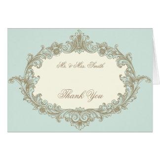 Tack för bröllop för ram för vintage för OBS kort