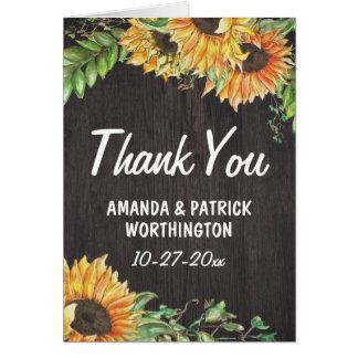 Tack för bröllop för solrosvattenfärg lantligt OBS kort