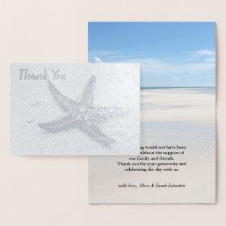 Tack för bröllop för tema för strand för folierat kort