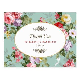 Tack för bröllop för vintageblommigtträdgård vykort