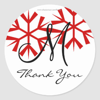 Tack för December bröllopMonogram M förseglar Runt Klistermärke