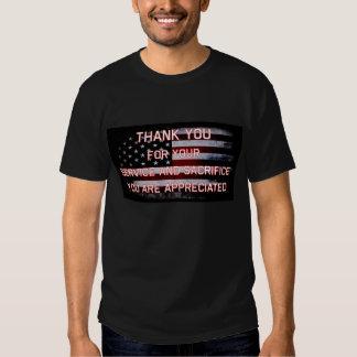 Tack för din tjänste- svart T-tröja Tee Shirt