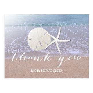 Tack för dollar för för strandbröllopsjöstjärna & vykort