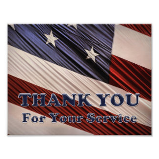 Tack för flagga USA för militära veteran Fototryck