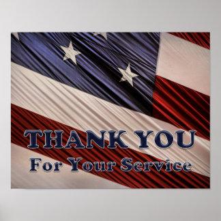 Tack för flagga USA för militära veteran Poster