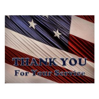Tack för flagga USA för militära veteran Vykort