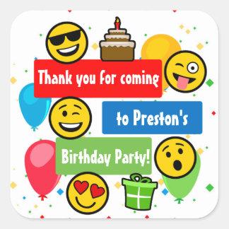 Tack för för Emoji födelsedagsfestungar eller Fyrkantigt Klistermärke