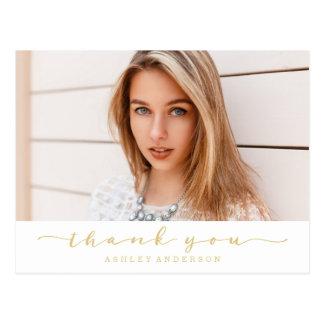 Tack för foto för klassikervit- och guldstudenten vykort