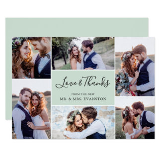 Tack för fotoCollagebröllop sänker minten för kort 12,7 X 17,8 Cm Inbjudningskort