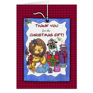 Tack för Gåva-Lejon jul och Lamb Hälsningskort