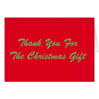Tack för julgåvan, rött och grönt hälsningskort
