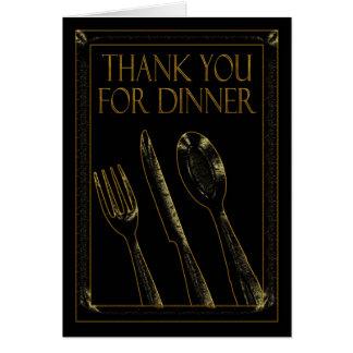 Tack för kortsvart och guld för middag stilfull hälsningskort
