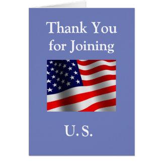 """""""Tack för ny amerikanmedborgare att gå med för US"""" Hälsningskort"""