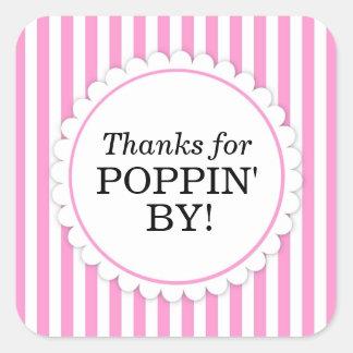 Tack för Poppin av Square klistermärken - randar
