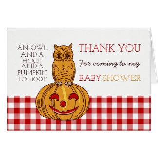 Tack för pumpauggla- & Ginghambaby shower OBS Kort