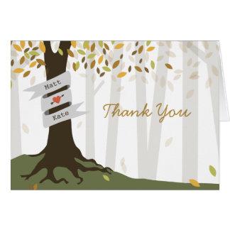 Tack för skogsmarkhöstbröllop OBS kort