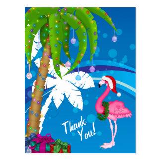 Tack för strand för helgdag för palmträdSanta Vykort