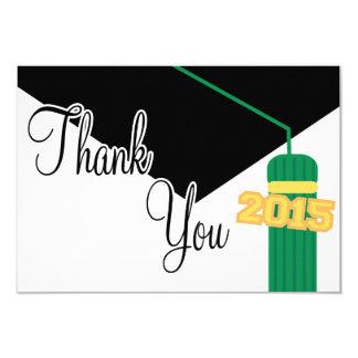 Tack för studentmössa 2015 och Tassel(grönt) 8,9 X 12,7 Cm Inbjudningskort