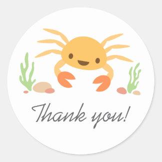 Tack för tecknad för gullig kawaiikrabba tackar runt klistermärke