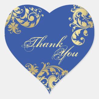 Tack förseglar - kungligt blom- bröllop för blått hjärtformat klistermärke