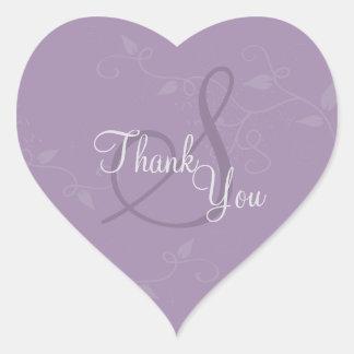 Tack förseglar - purpurfärgat Monogrambröllop för Hjärtformat Klistermärke