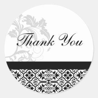 Tack förseglar - svartvitt damastast bröllop runt klistermärke