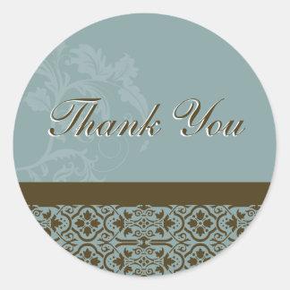 Tack förseglar - turkos & damastast bröllop för runt klistermärke