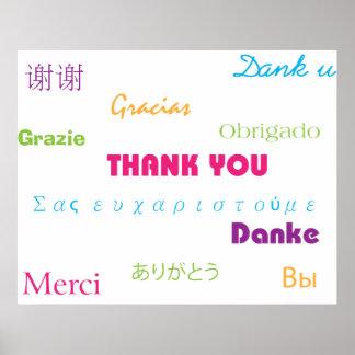 Tack i affisch för många språk
