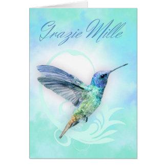 Tack i italienare - vattenfärgHumminbird kort
