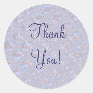 Tack! Lavendelblåttmönster Runt Klistermärke
