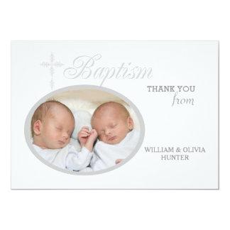 Tack Notecard #2 för foto för dopordsilver 12,7 X 17,8 Cm Inbjudningskort