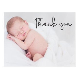 Tack och babyfödelsemeddelandet, skrivar text vykort